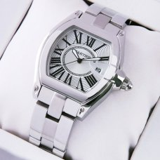 AAA Cartier Roadster small stainless steel silver dial replica watch for women