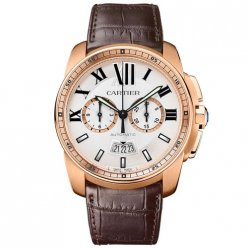 AAA Calibre de Cartier Chronograph watch W7100044 pink gold brown leather strap