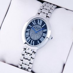 AAA Cartier Baignoire steel womens watch with blue diamond dial