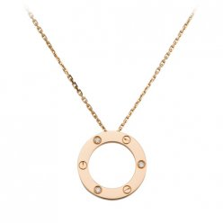 AAA Cartier Love pink gold necklace pendant with three diamonds B7014700
