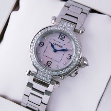 AAA Cartier Pasha C diamond watch for women steel white mother of pearl dial