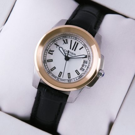 AAA Calibre de Cartier womens watch silver dial two-tone pink gold