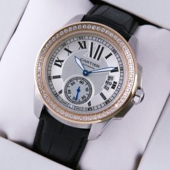 AAA Calibre de Cartier automatic diamond watch two-tone pink gold and steel