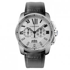 AAA Calibre de Cartier Chronograph watch W7100046 steel black leather strap