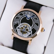 AAA Rotonde de Cartier tourbillon mens watch 18K pink gold black leather strap
