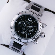 AAA Pasha de Cartier Chronograph watch for men steel and rubber bracelet
