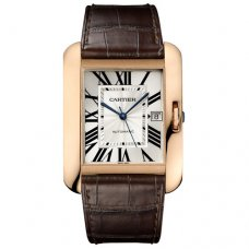 AAA Cartier Tank Anglaise pour les hommes montre W5310004 sangle cuir marron 18K or rose